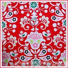 BonEful Fabric FQ Cotton Red White Xmas Flower Tree Bird Heart Damask Swirl RARE
