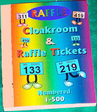 raffle tickets book of 500 choose your colour + duplicates unique numbered stubs