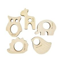 Natural Maple Wood Baby Teething relief Toys Forest Animals Teether set, Neutral