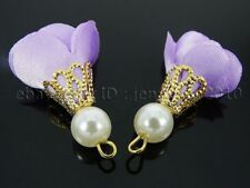 Colorful Cloth Flower 30mm Gold Plated Cap Pearl Pendant Jewelry Crafts Design
