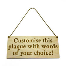 Personalised Sign Hanging Plaque Bespoke Custom Made Wall Door Wooden Any Text