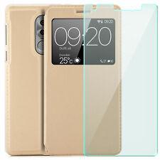 GLAS + View Case für Huawei Honor 6X Schutz Hülle Flip Etui Cover Sichtfenster