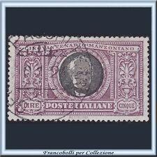 1923 Italia Regno Manzoni L. 5 violetto e nero  n. 156 Usato []
