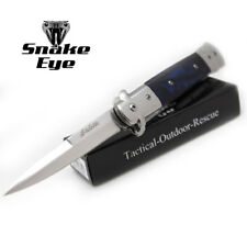 "Snake Eye Tactical Italian Style Stiletto Folding Knife Purple Handle 5"""