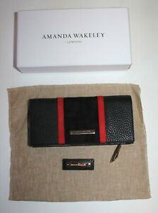 Black / Red Suede Amanda Wakeley The Dylan Zip Around Leather Purse, New