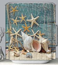 Starfish Seashells Net Aqua Wood Fabric SHOWER CURTAIN w/Hooks Shells Nautical