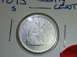 1875-S Twenty Cent Piece, Choice AU+ Collector Type Coin