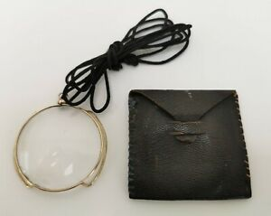 Vtg c1900 Gold Plated Monocle Reading Lens Eye Glass Spectacles & Leather Case