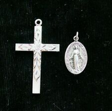 Sterling Silver Cross & Miraculous Mary Pendant