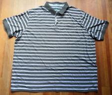 Size Big 5X Golf Shirt Grey White Stripe Cutter and Buck Short Slv Light Cotton