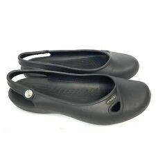 CROCS Womens Size 8 Black Rubber Slip On Closed Toe Sling Back Sandals