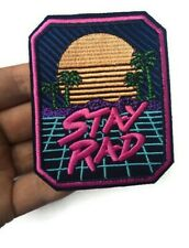 Surf Skate Stay Rad Beach Sunset Embroidered Iron On Patch Quality 9 cm Retro