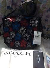 NWT Coach 1941 Tea Rose Applique Leather Saddle 23 Crossbody Bag #38195