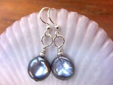 EARRINGS Grey Baroque Coin Pearl Silver LVRBK USA Artisan with Velvet Gift Bag