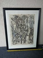 Unusual Woodblock AP Proof Print Mystery Artist Pencil Signed and Framed