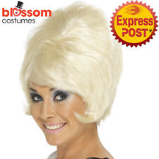W465 Womens 60's Beehive Wig Blonde Short Mod Flick Cilla Costume Accessories