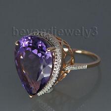 14K Rose Gold White Diamond Engagement Wedding Purple Amethyst Gemstone Ring