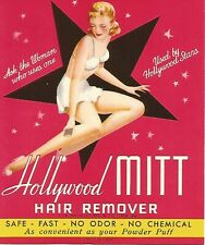 Vintage 1950s Mid Century Hollywood Mitt Hair Remover Paper Label Package Insert