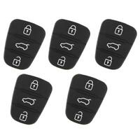 5Pcs 3 Buttons Rubber Black Key Shell Button Pad Replacement For Hyundai Kia