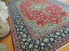 9x12 semi-Antique Esphahan wool hand-knotted Oriental Area Rug Red Blue Navy WOW