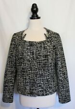 VERONIKA MAINE ~ Black Cream Graphic Print Cotton Blend Dressy Jacket Blazer 12