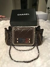Chanel brown leather with ivory trimming shouder bag & crossbody bag