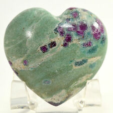 47mm Ruby in Fuchsite w/ Blue Kyanite Heart Natural Sparkling Crystal - India