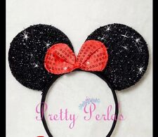1pc Minnie-Mickey Mouse Ears Headband Sparkle Shimmer Minnie Red Bow Costume