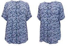 Ex Phool Plus Size Blue Floral Short Sleeve Button Top Tunic Blouse Sizes 24-28