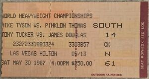 MIKE TYSON-PINKLON THOMAS ORIGINAL ON SITE STUBLESS TICKET (1987)