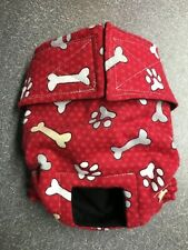 Red w White Paws Flannel Dog Panties Diaper Panty Adjustable Carols Crate Covers