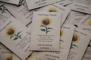 10 Personalised Sunflower Seed Wedding Favours with poem Table Guest NO SEEDS