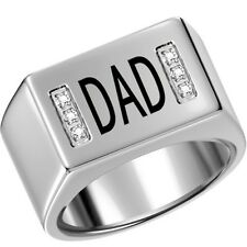Men Stainless Steel Ring Band DAD Father Birthday Gift SZ 7-15 Family Cocktail
