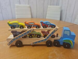Melissa And Doug Race Car Carrier Child Kids Wooden Transporter Toy