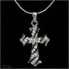 "Crucifix Cross Faith Religious Necklace Pendant Charm Clear Black Jewelr 18""-20"""