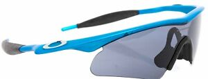 Oakley M Frame Cycling Sunglasses Matte Blue Pearlescent Grey Lens Road Bike