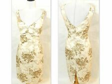 ARDEN B Ivory Brown FLoral STRETCH Cotton TWILL Pencil Skirt SHEATH Dress L