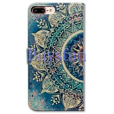 Bocov Green Circular Mandala Wallet Leather Cover Case For iPhone 7 Plus