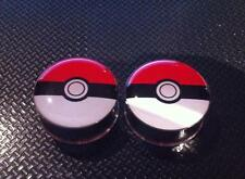 Pair Pokemon Pokeball Ear Plugs Flesh Tunnel Tunnels Stretcher 6-25mm