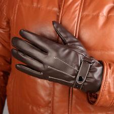 Men Winter Black Leather Motorcycle Driving Full Finger Ski Warm Gloves Mittens