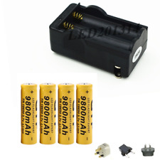 4x GTF 18650 3.7V 9800mAh Rechargeable Li-ion Battery For LED Flashlight+Charger