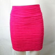 Forever 21 Juniors Hot Pink Ruched Skirt Size Small Sexy Short Mini Womens