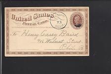 ROMEO, MICHIGAN 1874 GOVERNMENT POSTAL CARD, MACOMB CO. 1830/OP.