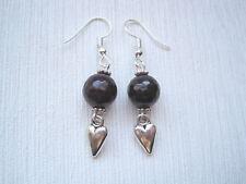 GARNET GEMSTONE BEAD LOVE HEART SP Drop Earrings Valentine Gift Bag Healing