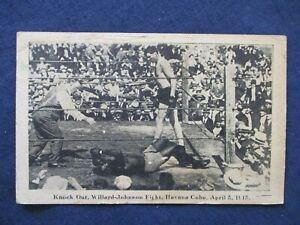 Boxing Match Postcard Knock Out Willard Johnson Fight Havana April 5 1915