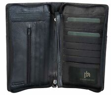 PRIMEHIDE BLACK RFID LEATHER TRAVEL ORGANISER PASSPORT ZIP AROUND WALLET 9300