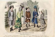 """57/ GRAVURE DE MODE """"  JOURNAL des DEMOISELLES """" 1877 SUPERBES COULEURS !"""