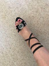 Karen Millen Diamanté' bow party Occasion Strappy Heels Shoes Size 38 RRP £125