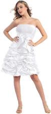Brautkleid kurz Standesamtkleid Hochzeitskleid schlicht weiß Satin Gr.44 XXL