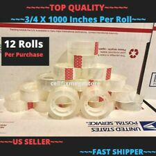12x Wholesale Lot 34 X 1000 Crystal Clear Transparent Tape Dispenser Refill